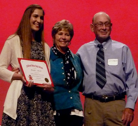 Jennifer Shedd, Patricia Klaviter Grevatt Memorial Scholarship awardee; President Jan Mahr and Jim Grevatt
